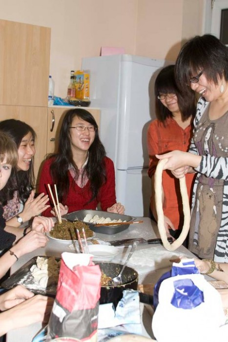 My flatmates and friends learning to make dumplings on Chinese New Year!
